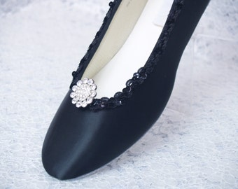 Black Wedding Shoes Dressy Flats Satin with brooch, Prom, Pageant, Mother of the Bride, Comfortable Flats, Black Satin Flat Shoes,Closed Toe