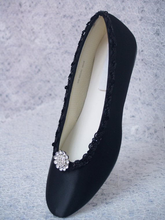 black wedding shoes dressy flats satin with brooch by newbrideco