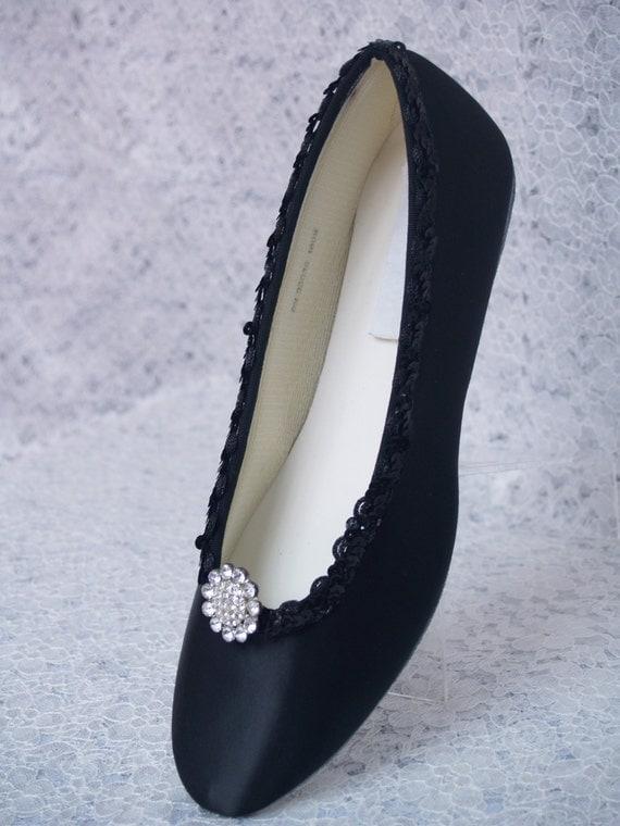black wedding shoes dressy flats satin with brooch by newbrideco