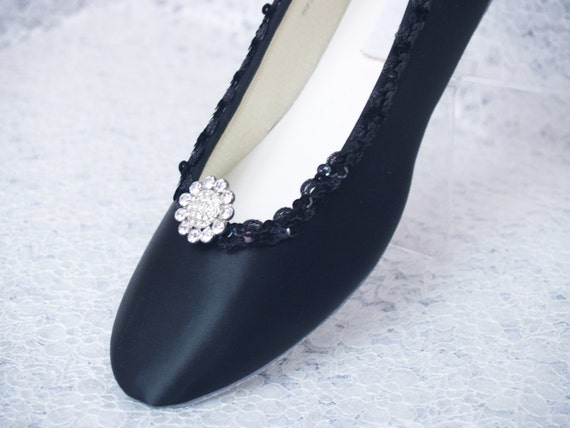 black wedding shoes dressy flats satin with brooch prom pageant