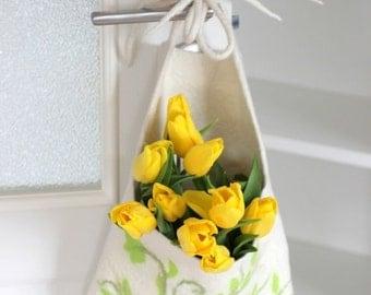SALE Hanging basket, toys organizer, felted wool bag, natural eco-friendly hanging bag - Mothers day gift