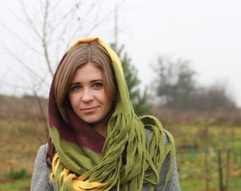 SALE Infinity scarf - Cobweb felted Circle wool scarf - necklace / yellow olive green aubergine - Valentines gift