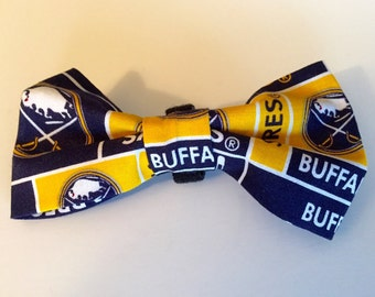 Buffalo Sabres Inspired Dog Bow Tie, Pet Bowtie, Doggie Bow Tie