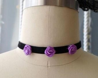 Statement Necklace Choker Black Velvet Purple Mini Rose Handmade Punk Rock , goth gothic Lolita cute steampunk Cute Victorian