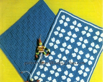 Vintage Knit and Crochet baby blankets afghan Patterns PDF B106  from WonkyZebraBaby