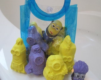 Set of 4 Cartoon Bath Bombs with Sponge Capsules Inside and Cartoon tub Toy - all in Plastic Tote