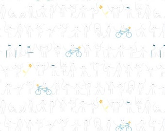 The Whisper Palette - Mice on Bikes in White - A-8184-C - Lizzy House for Andover - 1/2 Yard