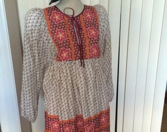 Gypsy style gauze type tunic dress lined size M-L