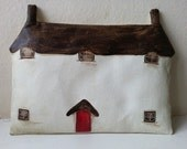 Thatched cottage, whimsical cottage, cottage art, textile cottage.