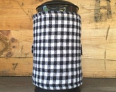 French Press Coffee Cozy -- with Salvaged Black & White Gingham Wool