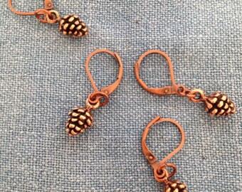 Copper Pinecone Stitch Markers