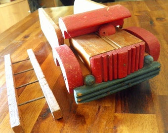 "Cass Toys Fire Truck--Includes Original Ladder--Circa 1950--12-1/2"" Long x 4-3/4"" Wide x 4"" High"