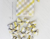 hearts in the box . 24 origami 3d hearts . origami gift box . gifts for him . origami hearts -yellow gray plaid
