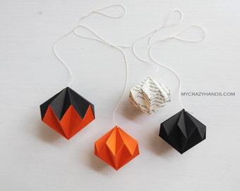 4 Halloween hanging decors | origami diamond kusudamas || | origami ornaments | | origami Halloween -black orange book page