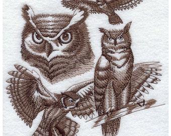 Custom Embroidered Great Horned Owl Sweatshirt S-3XL