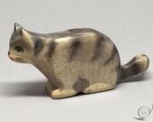 Toy Cat wooden grey black stripes stalking prowling Size: 10,5x5,0x2,2 cm (bxhxs) approx. 30 gr