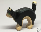Toy Cat wooden colourful black white  with cat's arched back Size:  10,5x5,0x2,2 cm (bxhxs) approx.30 gr.