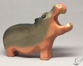 Toy Hippo wooden brown grey colourful with open mouth Size:15,5 x 11,0 x 3,0 cm (bxhxs) approx. 123,0 gr.
