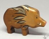 Toy wild boar wooden brown Size: 11,0 x 7  x 2,6 cm (bxhxs) approx. 65,0 gr.