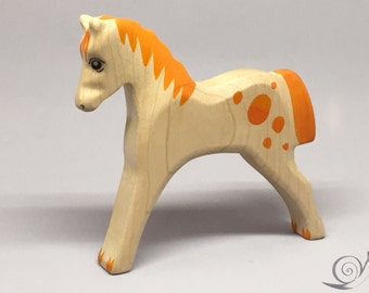Toy Horse horsey wooden white light brown with orange spots colourful  Size: 13,0 x 12,5 x 2,0 cm (bxhxs)  approx. 70,0 gr.