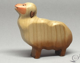 Toy Sheep wooden white brown pink colourful - standing with heads up mowing Size: 7,0 x 6,5 x 2,0 cm (bxhxs)  approx. 29,5 gr.
