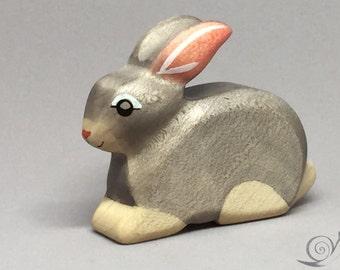 Toy Rabbit Wooden sitting grey - Easter bunny Size: 6,5 x 5,5 x 2,0 cm (bxhxs) ca. 25,5 gr.