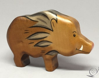 Toy wild boar wooden brown Size: 11,0 x 7  x 2,6 cm (bxhxs) approx. 65,0 gr.