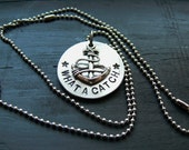 what a catch // fall out boy - hand-stamped aluminum and anchor necklace. DISCOUNTED -- see description.