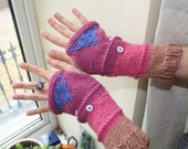 Fingerless arm warmers - knitted Irish wool - Celtic design - pink - beige - blue