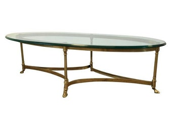 Sold Labarge Hollywood Regency Brass Oval Coffee Table La Barge Coffee Table