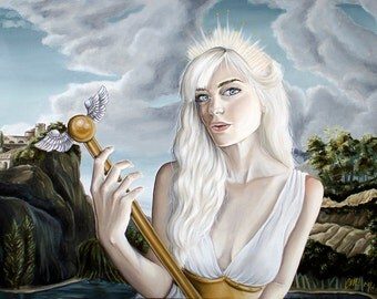 Greek Goddess Girl with Golden Sceptor Mythology A4 Art Print