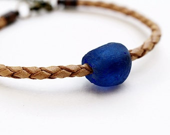 Blue Bead Bracelet Woven Leather Tan Bracelet Beaded Jewelry Eco Gift For Her Recycled Glass Boho Hippie Stacking Bracelet