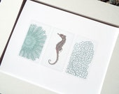 Soft Blue Sea Life Collection 3 of Sea Anemone, Sea Horse & Coral Fan Archival Quality Print
