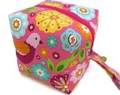 KNITTING PROJECT BAG - Sock Cube, Zippered Box Bag, Summer Song, Zippered Project Bag, Handmade, Knitting Bag, Crochet, Sock Bag, Hat Bag