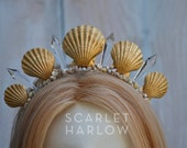 Mermaid Crown - Shell Crown - Festival Crown - Gold Crown - Bridal Crown - Bridal Headpiece - Mermaid Costume. READY TO SHIP