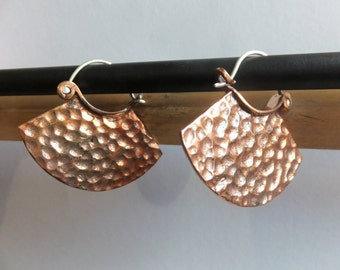 TRIBAL FUSION Hammered Copper Hoop Earrings Free shipping!