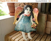 SALE ITEM-Vintage,Angel/Doll/Little Victorian girl wall plaque from art gallery-made by foot