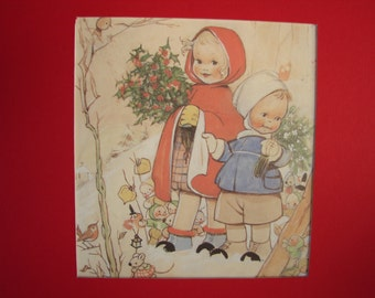 Vintage Mabel Lucie Attwell, Christmas children, wonderful pixies, holly, robin, winter scene