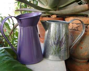2 purple jugs, lavender, small tin watering cans-shabby chic,spring summer garden