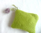 Hand dyed wool purse - lime green wool pouch - pom pom purse - wool purse with pom pom - lime green mini purse -