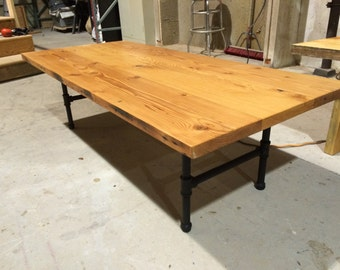 Reclaimed Doug Fir Coffee Table with Iron Pipe Legs