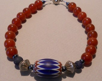 Blue Chevron Carnelian and Antiqued Silver Handmade Bead Bracelet