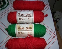 Red and Green Maxi-Cord...Twisted Macrame Cord...1970's Vintage Supply...Great Condition..4mm and 6mm Size..Retro Macrame Supplies...