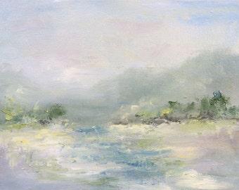 White Landscape - oil Abstract Landscape