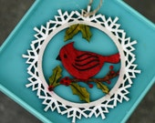 Laser cut wood ornament, painted, red cardinal on branch, berries, snow flakes, red and green , Christmas, holiday, bird, glitter