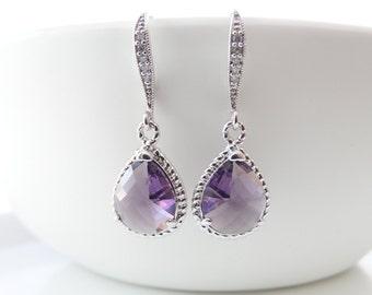 Amethyst Earrings Bridal Earrings Teardrop Earrings  Bridesmaid Gift  Wedding Jewelry Purple Earrings