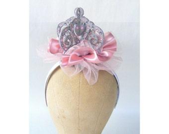 Pink Crown Silver Fascinator Lolita Masquerade Steampunk Princess Edwardian Victorian Cosplay Costume Goth Burlesque Headpiece Bridal