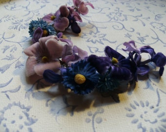 Pretty Vintage Faux Flower Crescent in Purples with Free Shipping
