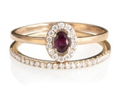 Mini Diana Ring Oval Ruby Diamond Ring with Dainty half eternity diamond band, Diamond Wedding Set. Ruby ring