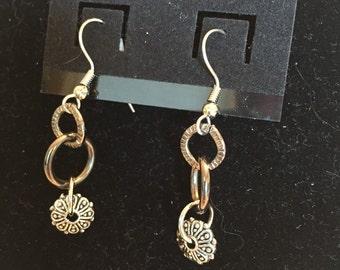 Silver & gun metal drop dangle earrings